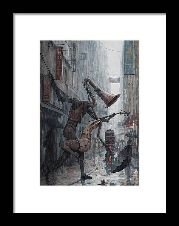 Life Framed Print featuring the painting Life Is Dance In The Rain by Adrian Borda