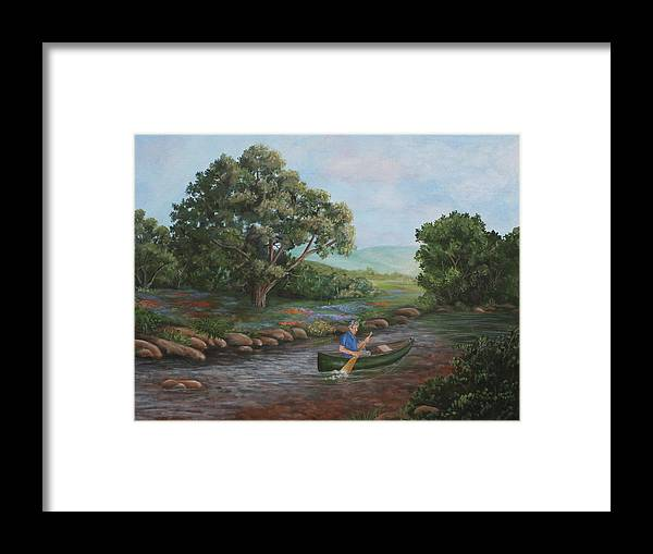 Canoe Framed Print featuring the painting Life Is Good by Sandra Poirier