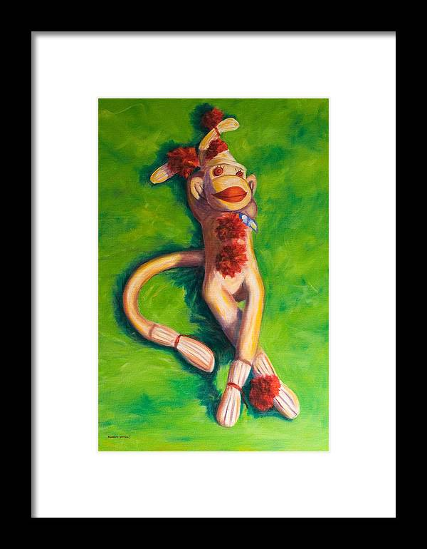 Sock Monkey Framed Print featuring the painting Life Is Good by Shannon Grissom