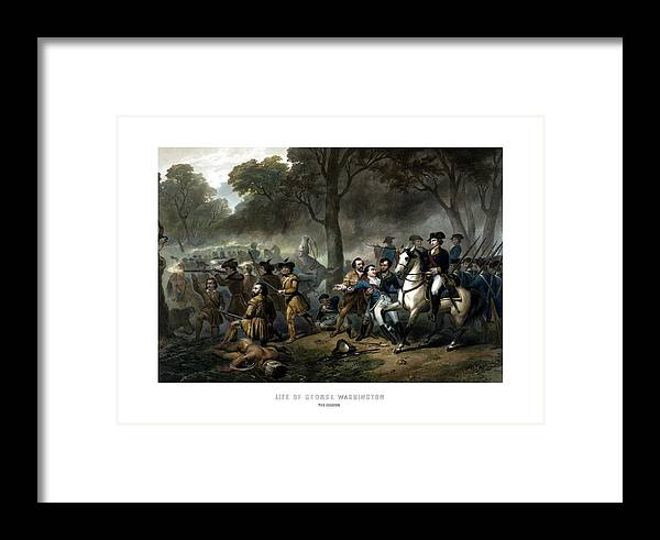 George Washington Framed Print featuring the painting Life Of George Washington - The Soldier by War Is Hell Store