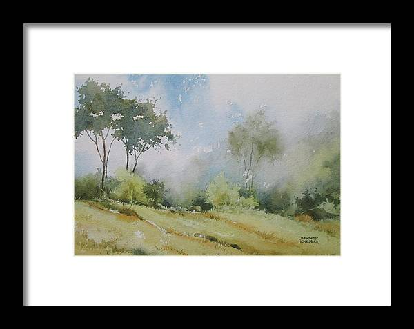 Landscapes Framed Print featuring the painting Life On The Edge by Sandeep Khedkar