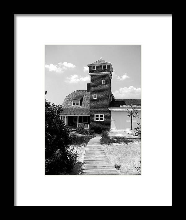 Sandy Hook Framed Print featuring the photograph Life Saving Station by Colleen Kammerer
