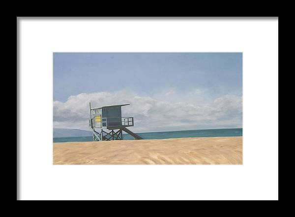 Beach Framed Print featuring the painting Lifeguard Tower by Merle Keller