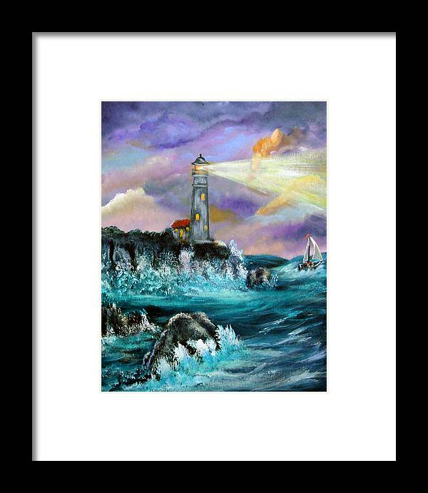 Lighthouse Framed Print featuring the painting Life's Storms by Darlene Green