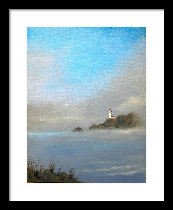 Seascape Framed Print featuring the painting Lifing Fog by Shasta Eone