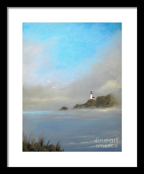 Seascape Framed Print featuring the painting Lifting Fog by Shasta Eone