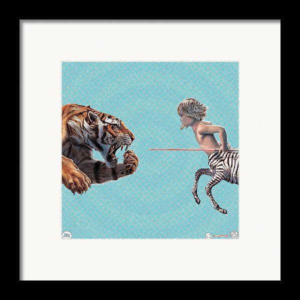 Zebratavi Framed Print featuring the drawing Liger Swift Hand by David Starr