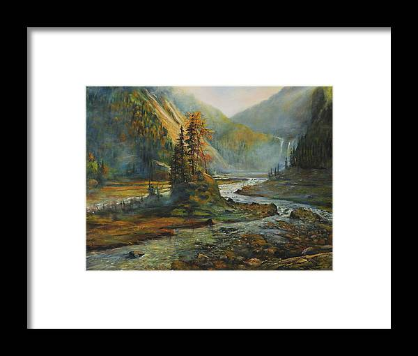 Landscape Framed Print featuring the painting Light After The Storm by Craig shanti Mackinnon