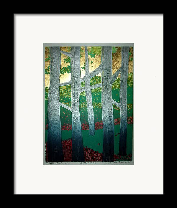 Landscape Framed Print featuring the mixed media Light Between The Trees by Jarle Rosseland