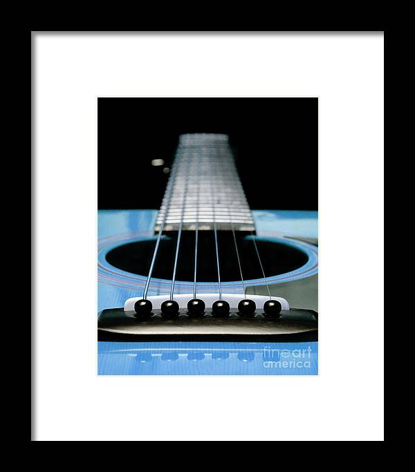 Andee Design Guitar Framed Print featuring the photograph Light Blue Guitar 13 by Andee Design