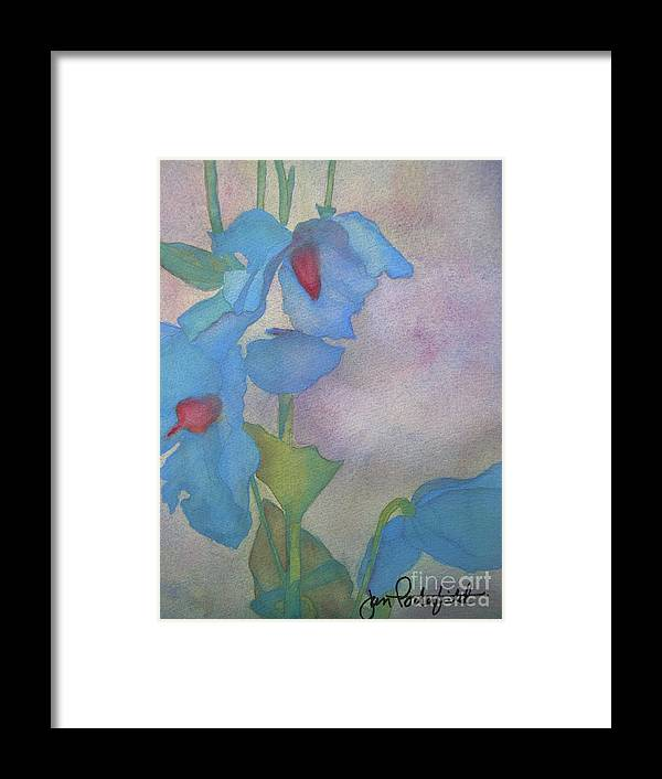 Blue Framed Print featuring the painting Light Blue Poppies by Jeff Friedman