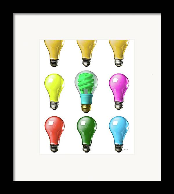 Business Framed Print featuring the photograph Light Bulbs Of A Different Color by Bob Orsillo