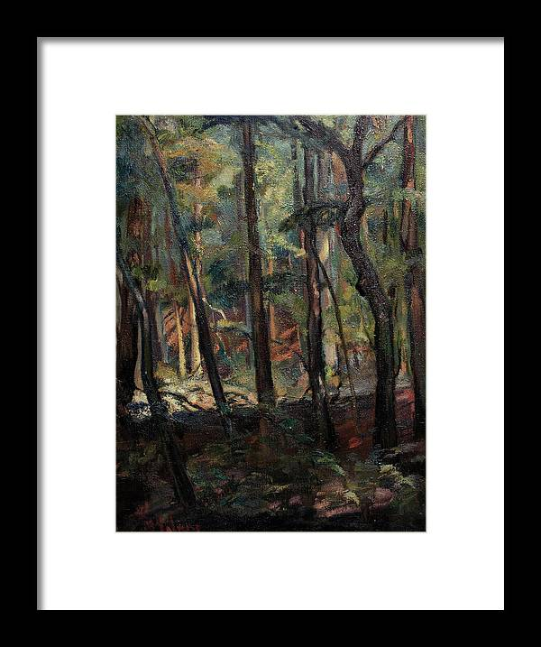 Oil Painting Framed Print featuring the painting Light Dancing With Trees by Maris Salmins