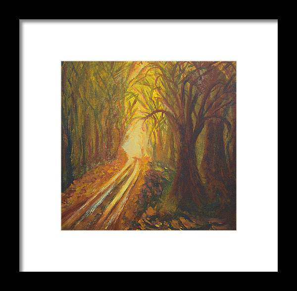 Forest Framed Print featuring the painting Light Down The Road by Margaret G Calenda