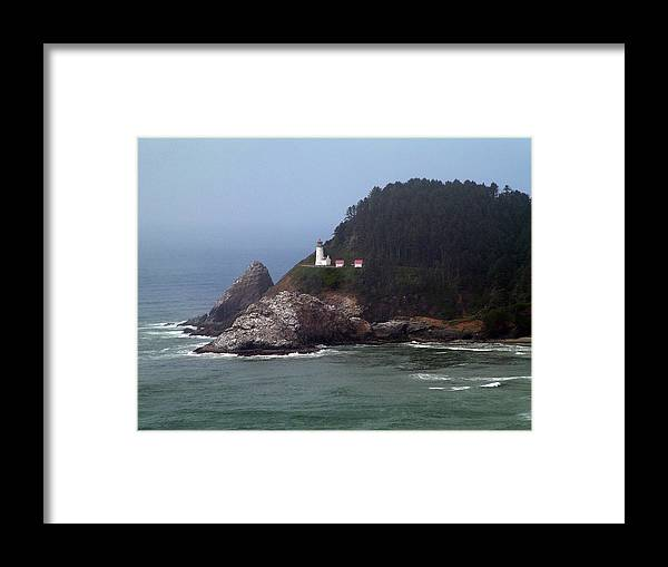 Light House Fog Ocean Trees Framed Print featuring the photograph Light House In Fog by Nick Gustafson