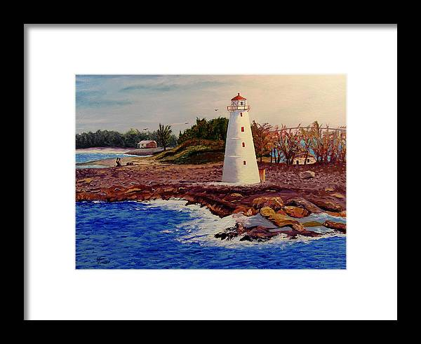 Original Oil On Canvas Framed Print featuring the painting Light House by Stan Hamilton