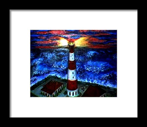 Lighthouse Framed Print featuring the print Light In The Storm by Tanna Lee M Wells