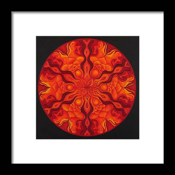 Mandala Framed Print featuring the painting Light My Fire by Erik Grind