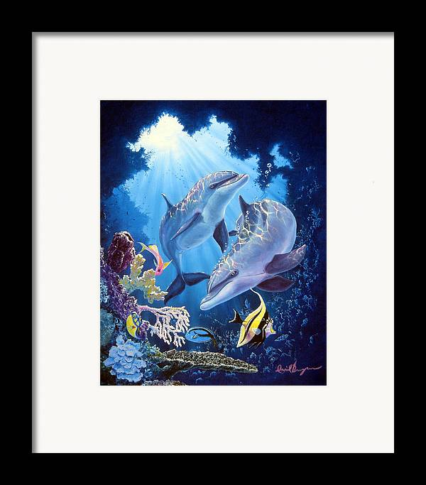 Dolphin Framed Print featuring the painting Light Of Serenity by Daniel Bergren