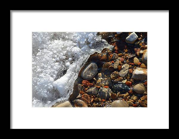 Abstract Framed Print featuring the photograph Light On Rocks And Ice by Lyle Crump