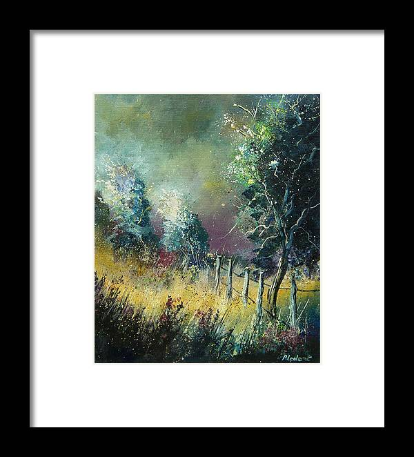 Landscape Framed Print featuring the painting Light On Trees by Pol Ledent