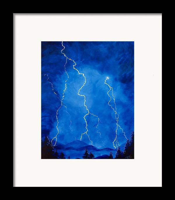 Lightening Framed Print featuring the painting Lightening Storm In The Mountains by Lorraine Foster