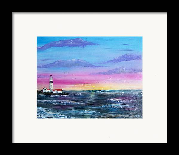 Seascape Framed Print featuring the painting Lighthouse 5 by Tony Rodriguez