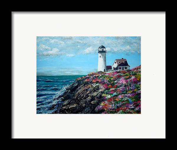 Lighthouse Sea Framed Print featuring the painting Lighthouse At Flower Point by Jack Skinner