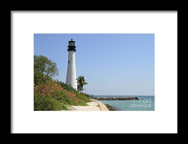 Florida Framed Print featuring the photograph Lighthouse At Key Biscayne Florida by Krista Kulas