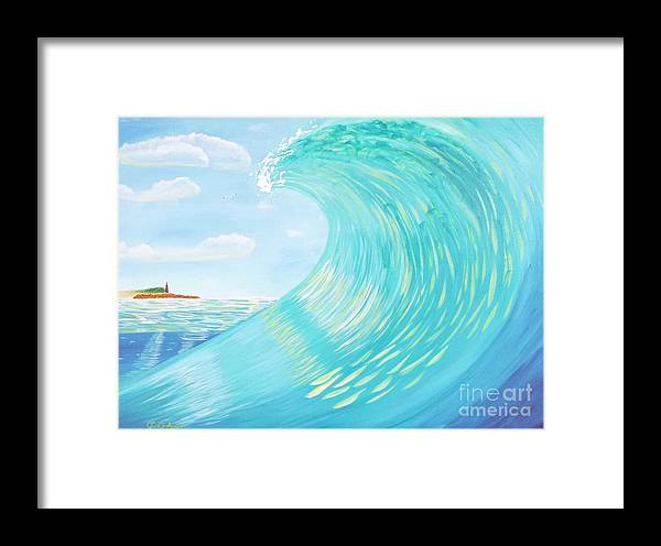 Ocean Framed Print featuring the painting Lighthouse Curl by Jenn C Lindquist