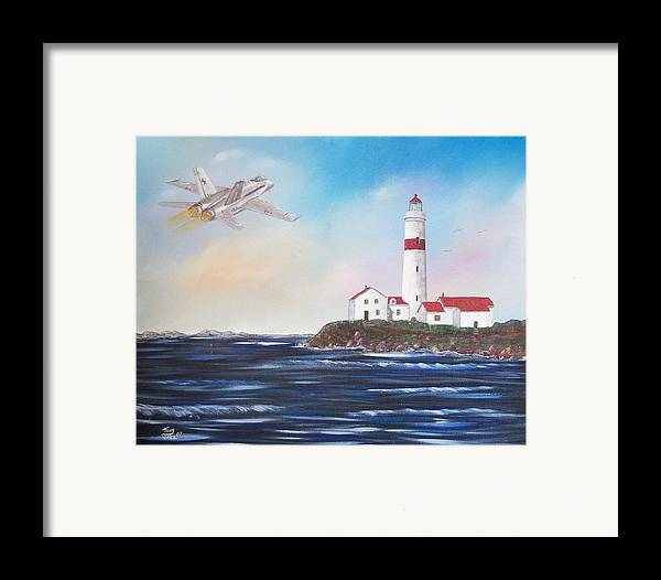 Seascape Framed Print featuring the painting Lighthouse Fly By by Tony Rodriguez