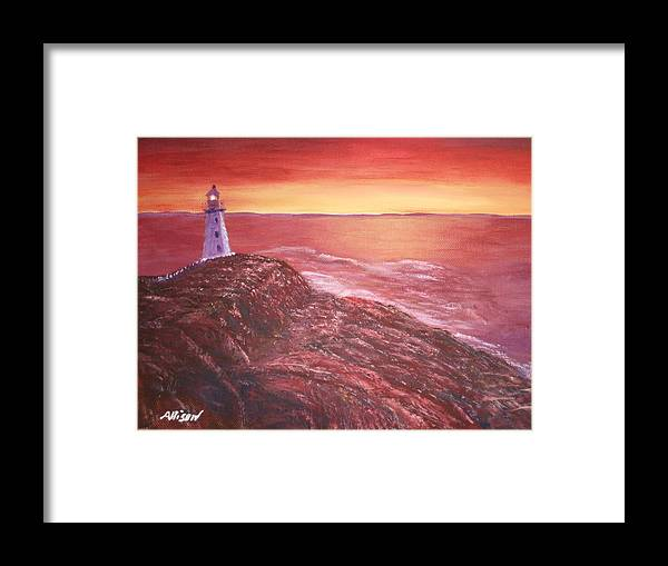 Lighthouse Paintings Framed Print featuring the painting Lighthouse In Newfoundland by Allison Prior