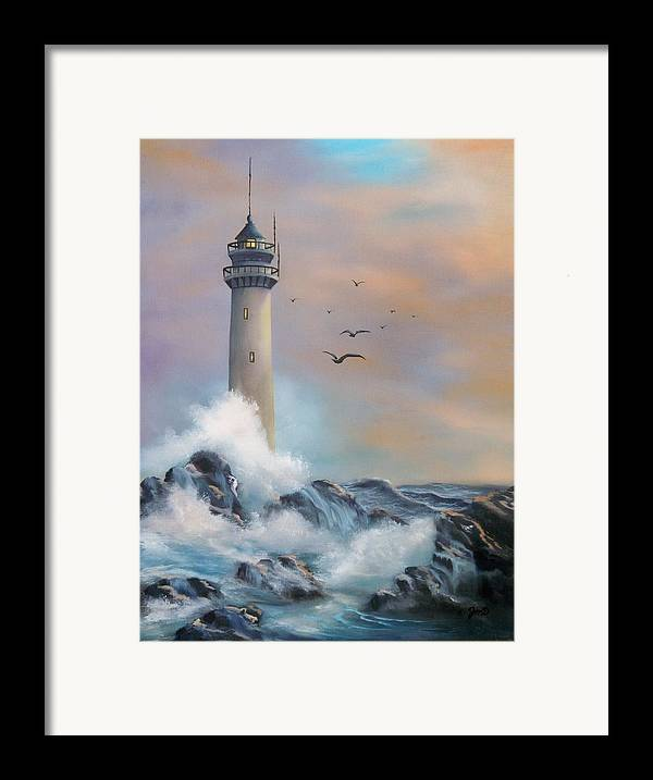 Lighthouse Framed Print featuring the painting Lighthouse by Joni McPherson