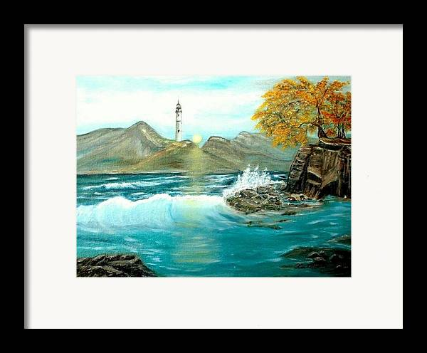 Lighthouse Ocean Painting Rocks Trees Framed Print featuring the painting Lighthouse by Kenneth LePoidevin