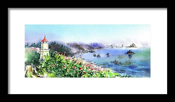 Elongated Framed Print featuring the painting Lighthouse Landscape Watercolor by Irina Sztukowski