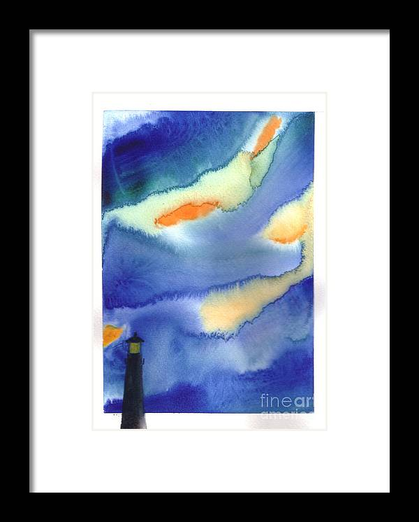 A Lighthouse In A Beautiful Stormy Night. This Is A Contemporary Watercolor Painting. Framed Print featuring the painting Lighthouse by Mui-Joo Wee