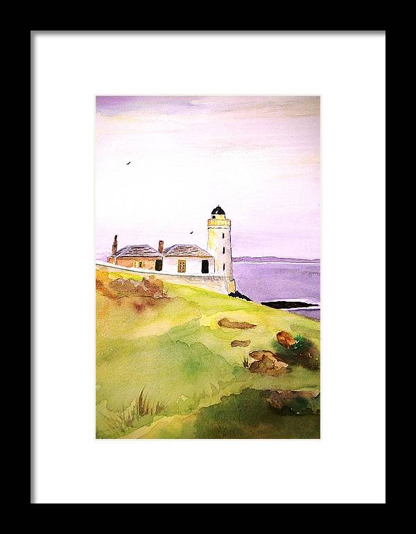 Seascape Framed Print featuring the painting Lighthouse On The Isle Of May by Veron Miller