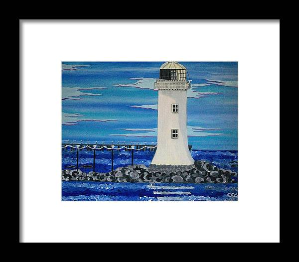 Lighthouse Framed Print featuring the painting Lighthouse On The Shannon by Carolyn Cable