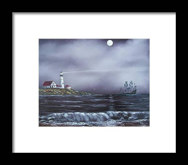 Seascape Framed Print featuring the painting Lighthouse by Tony Rodriguez