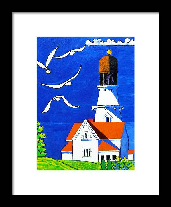 Lighthouse Framed Print featuring the painting Lighthouse With Seagull by Nicholas Martori