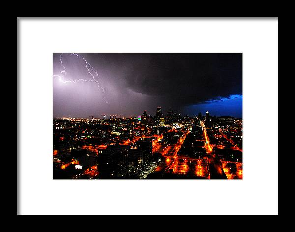 Night Framed Print featuring the photograph Lighting Over Kansas City by Steven Crown