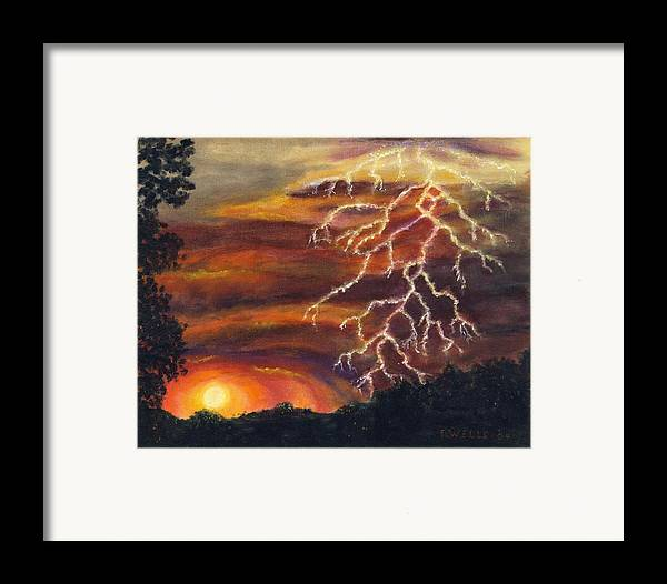 Lightning At Sunset Painted In Vibrant Colors Framed Print featuring the painting Lightning At Sunset by Tanna Lee M Wells