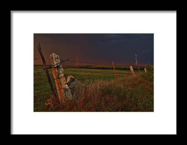 Storms Framed Print featuring the photograph Lightning Bolt Over Post Rock Country, North Central, Kansas by Greg Rud