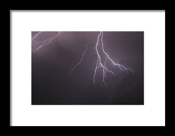 Lightning Framed Print featuring the photograph Lightning Spark by Maribel McIntosh