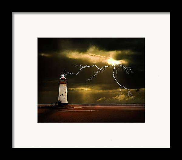 Lighthouse Framed Print featuring the photograph Lightning Storm by Meirion Matthias