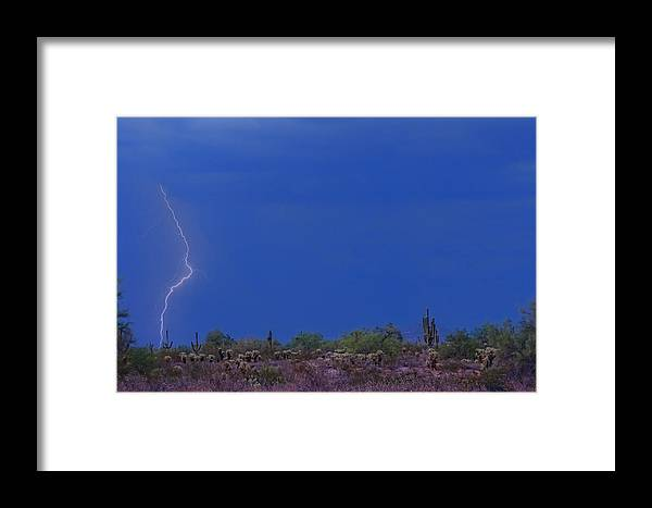 Lightning Framed Print featuring the photograph Lightning Strike In The Desert by James BO Insogna