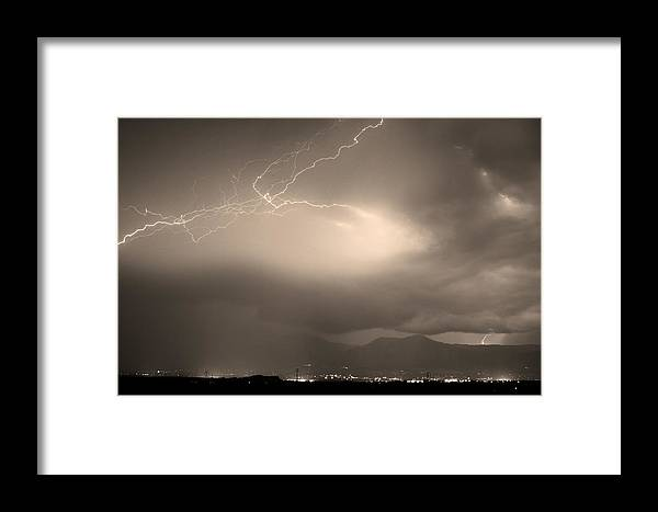 Lightning Framed Print featuring the photograph Lightning Strikes Over Boulder Colorado Sepia by James BO Insogna
