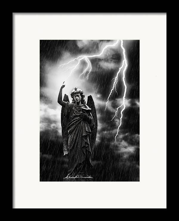 Religion Framed Print featuring the photograph Lightning Strikes The Angel Gabriel by Amanda Elwell
