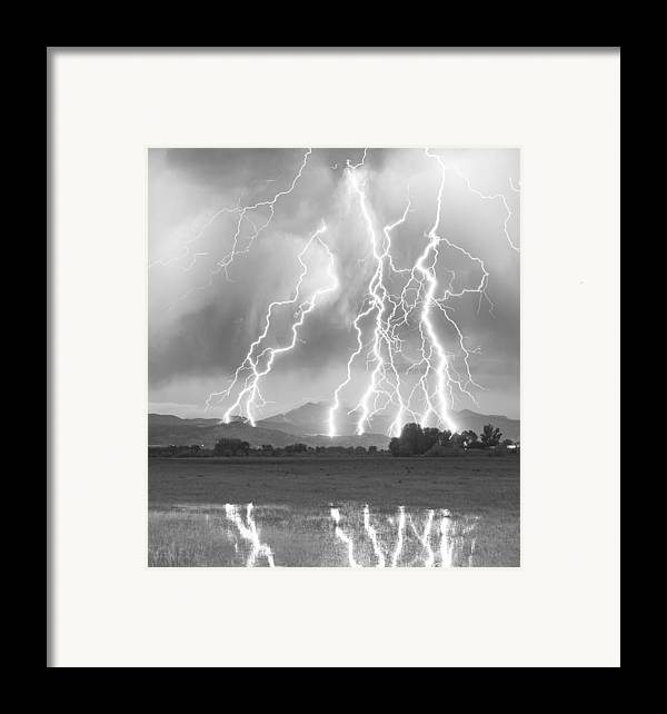 Foothills Framed Print featuring the photograph Lightning Striking Longs Peak Foothills 4cbw by James BO Insogna