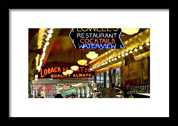 Seattle Framed Print featuring the photograph Lights of Pike Place Market by Larry Keahey